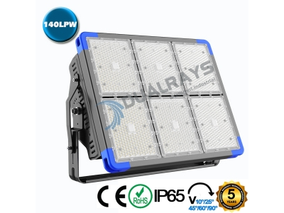 Dualrays F5 Series 1080W IP66 Stadium LED Flood Light,140LPW Efficiency,5 Years Warranty,different beam angle especially for sport lighting