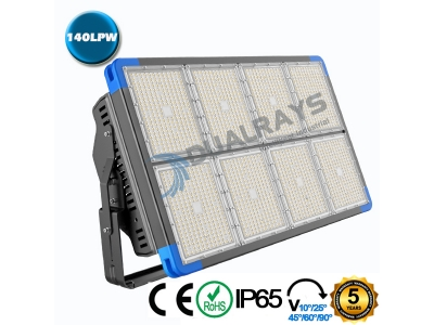 Dualrays F5 Series 1440W IP66 Stadium LED Flood Light,140LPW Efficiency,5 Years Warranty,different beam angle especially for sport lighting