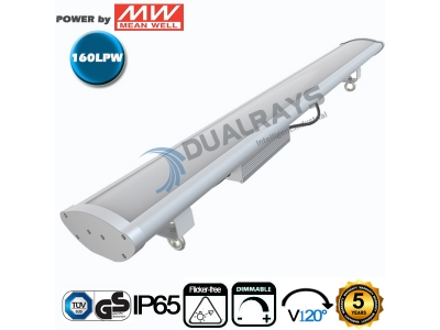Dualrays HB6 Series 5ft/200W Linear LED High Bay Light,160LPW Efficiency,with Microwave sensor,Emergency Function,5 Years Warranty