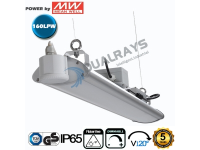 Dualrays HB6 Series 4ft/150W Linear LED High Bay Light,160LPW Efficiency,with Microwave sensor,Emergency Function,5 Years Warranty