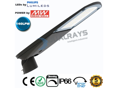 Dualrays S4 Series 60W Intelligent LED Street Light,140LPW efficiency , IP66 ,5 years guarantee