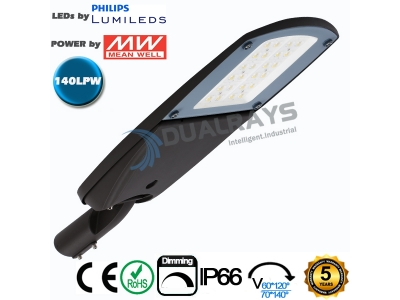 Dualrays S4 Series 30W Intelligent LED Street Light,140LPW efficiency , IP66 ,5 years guarantee