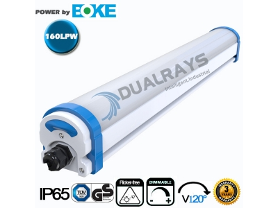 Dualrays D2 Series 4ft/40W LED Tri-proof Light 160LPW Efficiency 3 years guarantee emergency 0-10V and DALI dimming optional